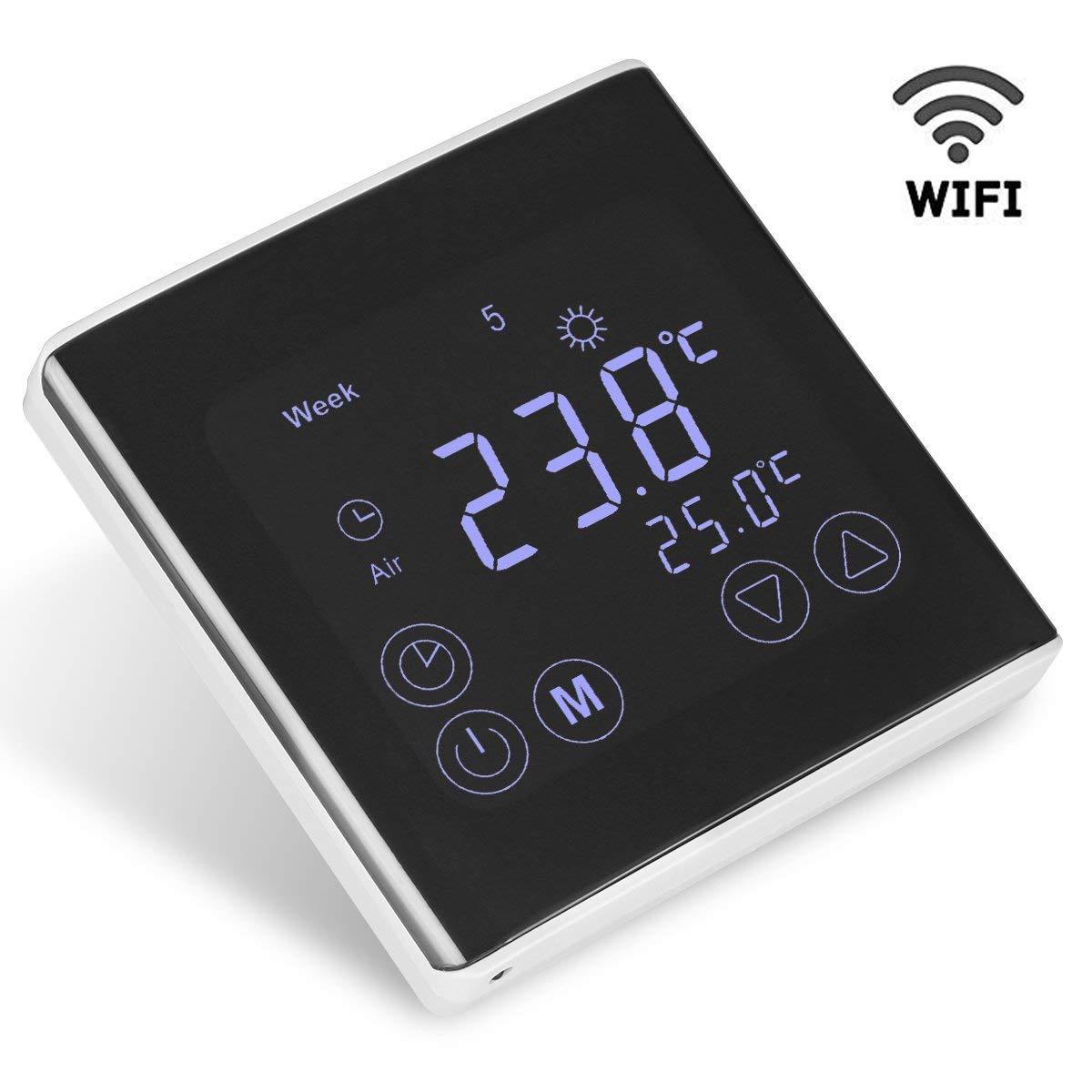 Termostato con WIFI, FLOUREON Termostato Eléctrico con Calefacción de Piso con WIFI, Digital y Programable, con Pantalla Táctil LCD, Control ON-LINE, 230 V, ...