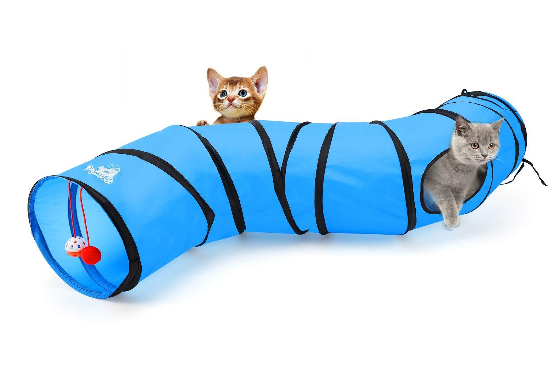 Pawaboo Túnel de gato, plegables Túneles de Tubo en forma de S, Juguete interactivo con pompon y campanas para gato conejo de gatito cachorro, ...