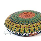 Eyes of India - 32'' Blue Yellow Green Mandala Floor Meditation Cushion Pillow Seating Throw Cover Round Colorful Decorative Hippie Bohemian Boho Dog Bed IndianCover Only