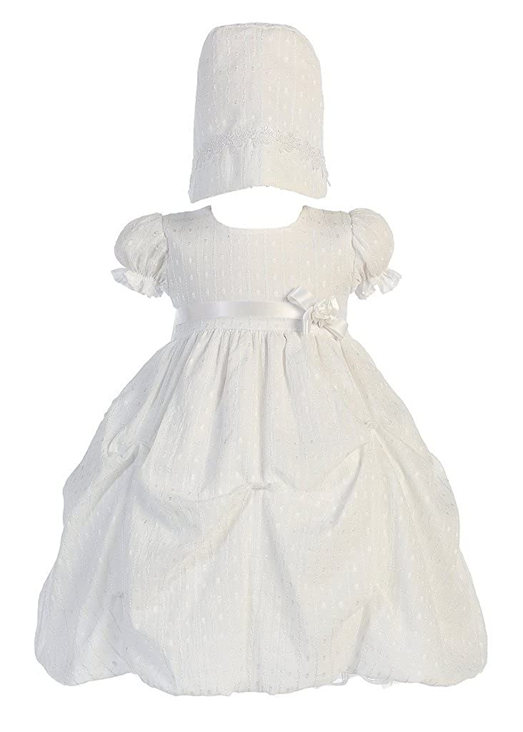 Baby Girl White Poly Cotton Jacquard Gathered Christening Dress with Bonnet