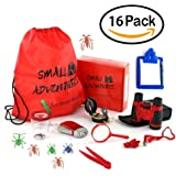 16 in 1 Outdoor Exploration Kit, Children's Toy Binoculars Set for Kids - Flashlight, Compass, Whistle, Magnifying Glass and more. Kids Set for Camping, Hunting, Hiking & Bird Watching. Pretend Play.