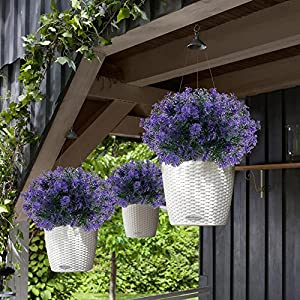 NAHUAA 4Pcs Artificial Plastic Plant Fake Greenery Shrubs Faux Bushes Bundles Indoor Outdoor Home Kitchen Office Windowsill Table Centerpieces Arrangements Spring Decorations Spray in Purple 2