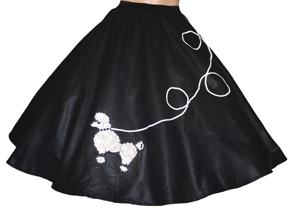 3 BIG NOTES - Adult Felt Poodle Skirt Size XL (40''- 50'') Black