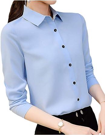 Camisa Entallada de Primavera con Blusa y Top de Manga Larga para Mujer: Amazon.es: Ropa y accesorios