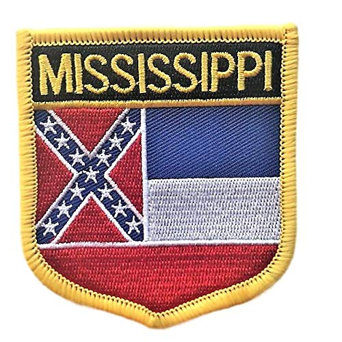 Mississippi Flag Badge Patch/U.S. State Shield Embroidered Iron-On/Sew-On Patch Collection (MS Crest, 3.00