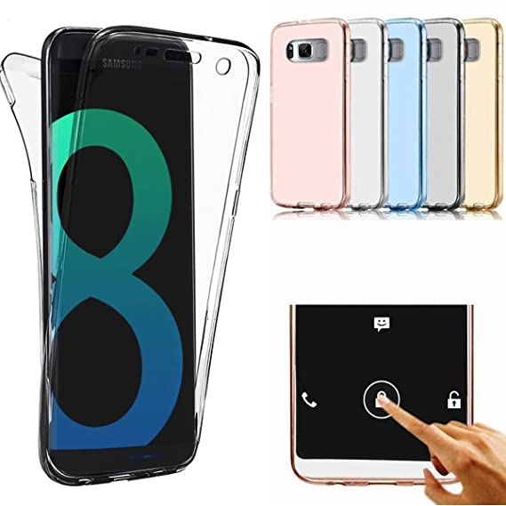quality design f72b8 742d2 Galaxy S8 Plus Clear Case Galaxy S8 edge Case AMASELL 360 Full Protective  Shockproof Front and Back Transparent TPU Design Gel Soft Case Cover for ...