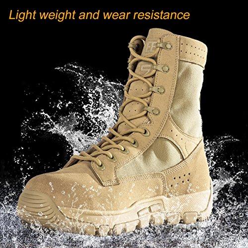 Libre Soldado táctico hombres de piel de ante botas de media caña transpirable ligero zapatos de senderismo