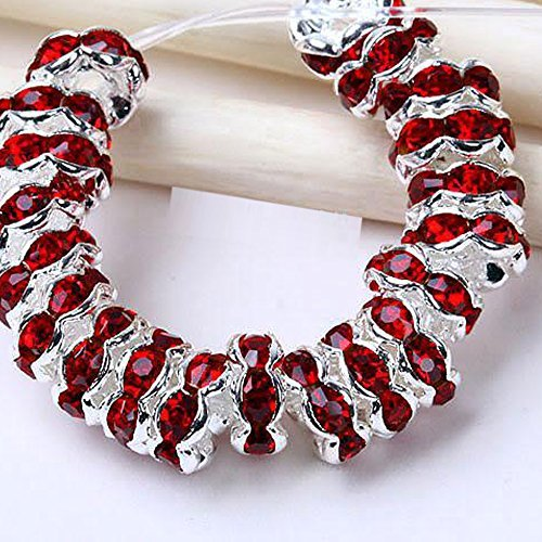 RUBYCA Top Quality 100pcs 5mm Wavy Rondelle Spacer Beads Silver Tone Dark Red Czech Crystal