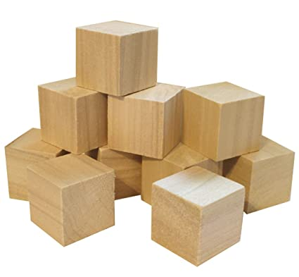 Amazoncom 15 Natural Unfinished Hardwood Craft Wood Blocks By