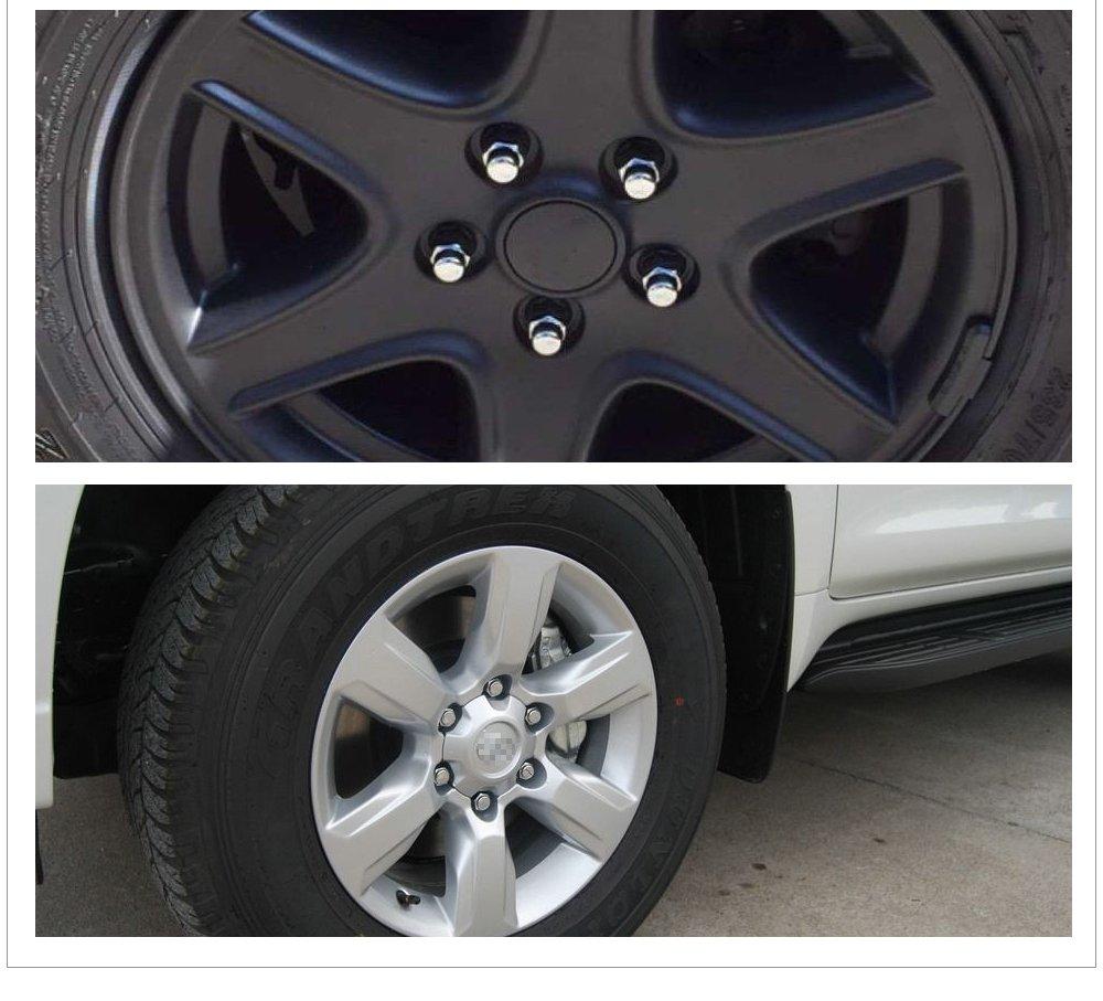 YITAMOTOR 32pc Black 7 Spline Lug Nuts 14x1.5 fits Ford F-250 F-350 Chevy GMC 8 LUG TRUCKS + 2 Keys (32pcs Chrome XL)