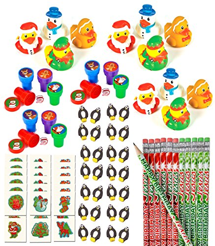 100 Piece Bulk Christmas Themed Party Favor Assortment Pack for Kids Stocking Stuffers, Holliday Parties, or Classroom