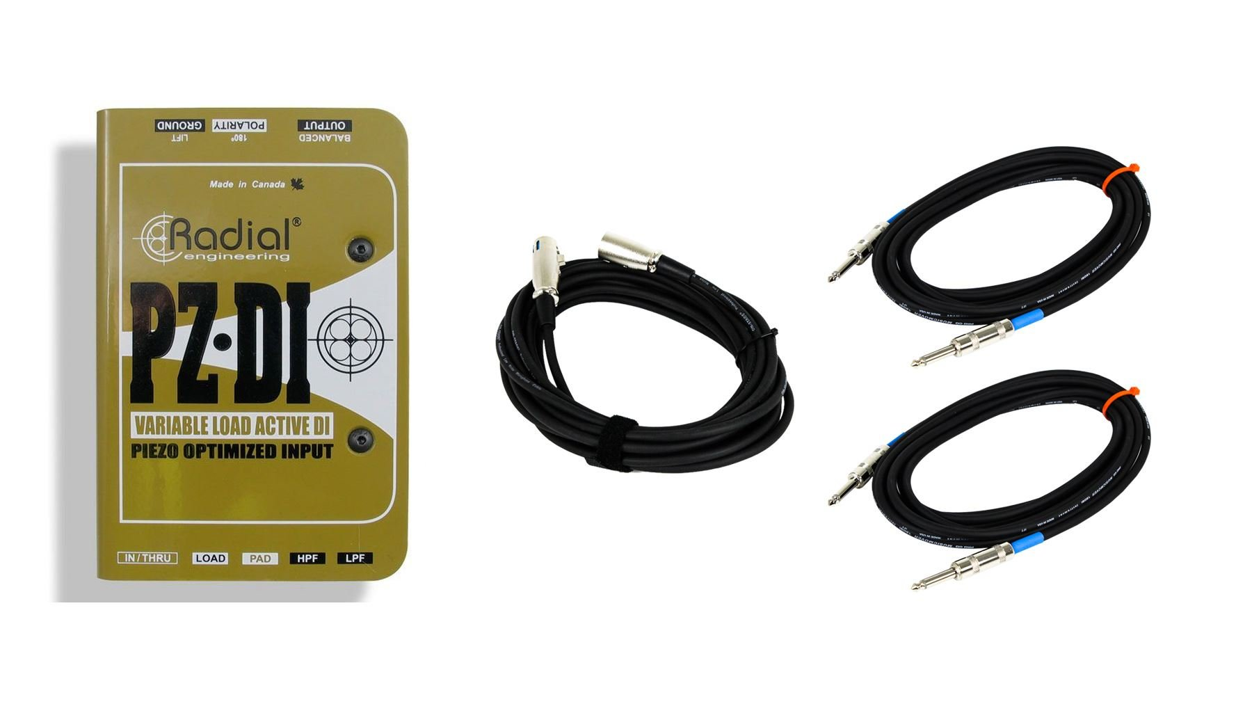 Radial PZ-DI w/2 Instrument Cables & XLR Mic Cable