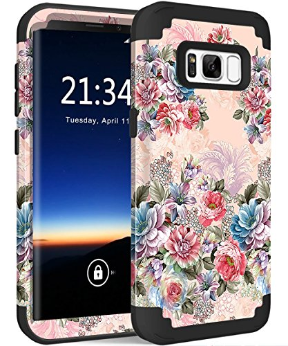 Galaxy S8 Case, Hocase Drop Protection Shock Absorbing Silicone Rubber Bumper+Hard Shell Hybrid Dual Layer Full-Body Protective Case for Samsung Galaxy S8 (5.8) 2017 - Peony Floral Print/Black