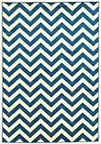 Cheap Linon Claremont Collection Chevron Synthetic Rugs, 2′ x3′, Blue