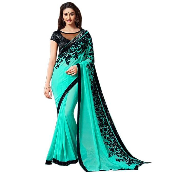 Hermoso sari de Inhika, modelo Georgette, para mujer, con blusa de diseñ