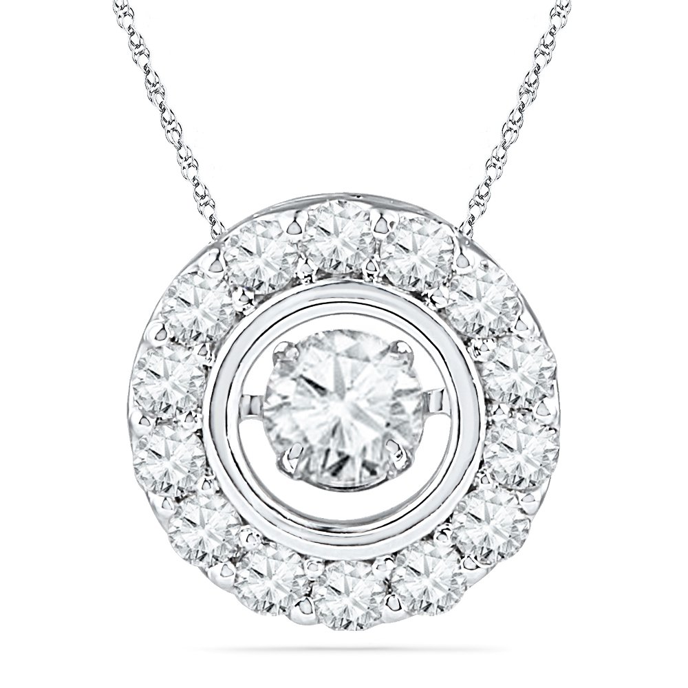 10KT White Gold Round Diamond in Motion Fashion Pendant (1 cttw)