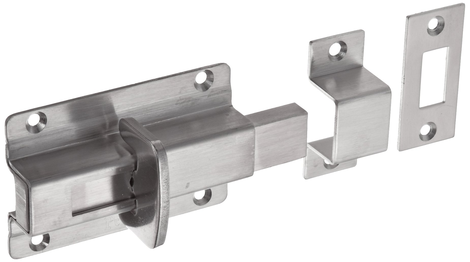 Stainless Steel 304 Slide Bolt Latch, Polished Finish, Non Locking, 2-61/64'' Bolt Plate Length, 27/32'' Throw Plate Length (Pack of 1)