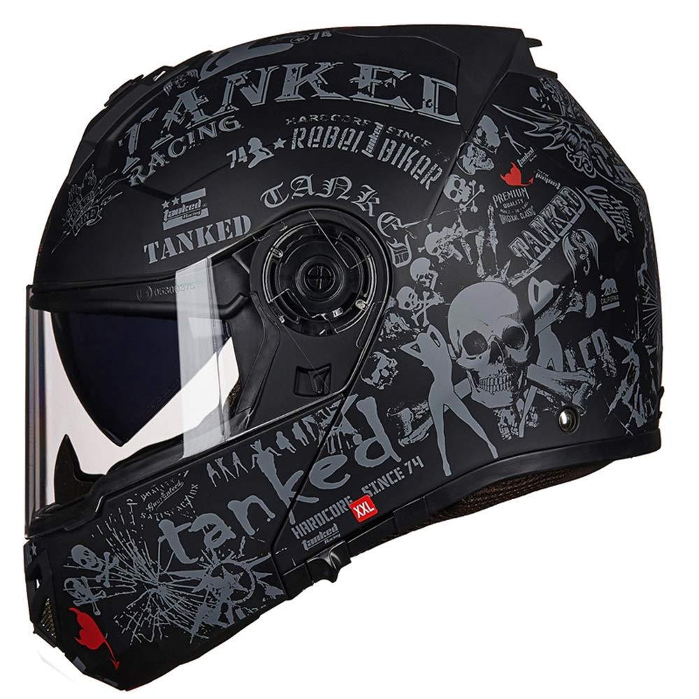 Zhengtufuzhuang Black Full Face Helmet, Men's Double Lens, Open Helmet, Full Coverage Locomotive Off-Road Helmet, Four Seasons Universal, High-Definition Wear-Resistant Lens Scratch Prevention