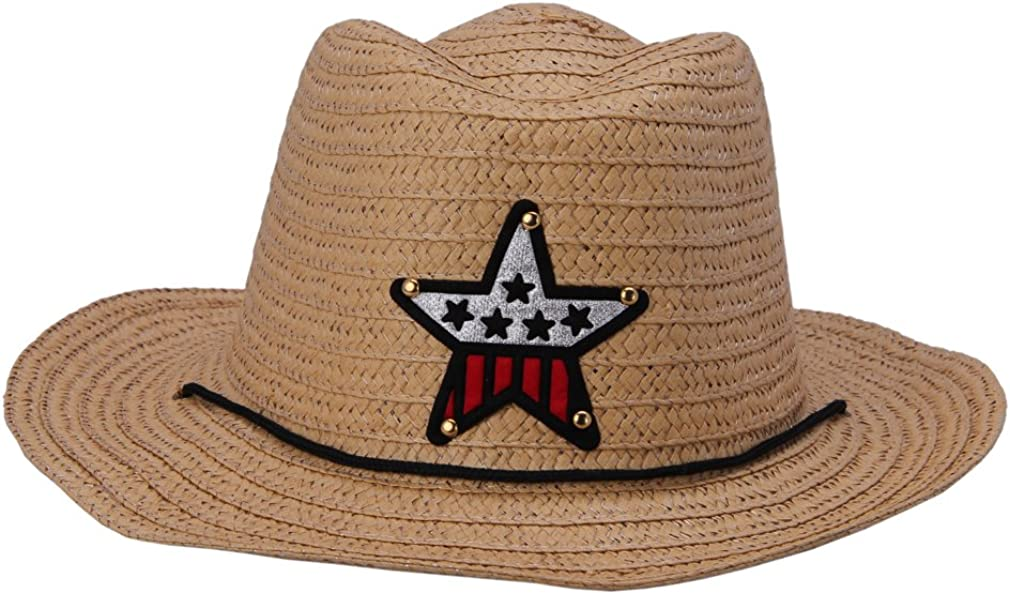 JTC Boy Kids Straw Cowboy Sun Hat Girl Beach Cap Prop Outfit For 3-5years old