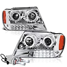 VIPMotoZ 1999-2004 Jeep Grand Cherokee Projector Headlights - Built In Cree LED Low Beam, Metallic Chrome Housing, Dual LED Halo Ring & Daytime Running Lamp Strips, Driver and Passenger Side