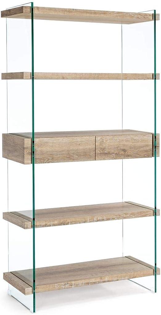 ARREDinITALY estantería de Madera con cajones y Cadera de Cristal: Amazon.es: Hogar