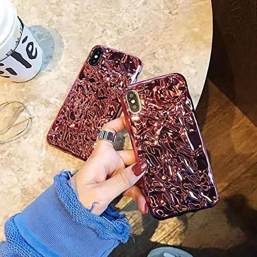 Foil Glitter Case for iPhone Xs MAX Rose Gold Bling Shining Soft TPU Phone Case for iPhone 7 XR X 8 Plus Cover (for iPhone X XS) ()