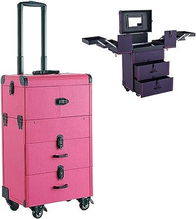 2 en 1 Malet/ín de Maquillaje con 4 Ruedas Trolley Cosm/éticos Profesional con 8 Cajones de Almacenamiento Maleta Maquillaje Profesional
