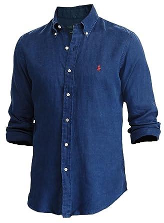 c9086877 Polo Ralph Lauren Men's Ocean-Wash Linen Shirt, S, Navy at Amazon ...