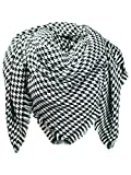 Black & White Houndstooth Pattern Blanket Scarf With Fringe