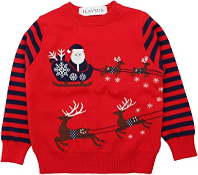 Little Boy Ugly Deer Xmas Santa Sweater ILAVSUN Toddler Girl Ugly Christmas Sweater