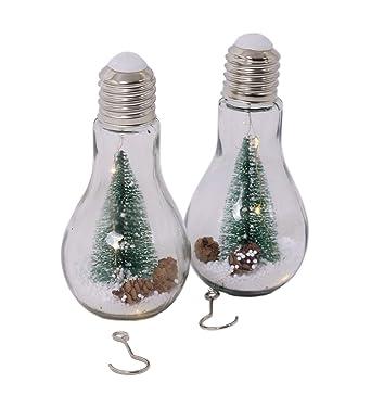 Led Lampen Weihnachtsdeko.Led Glühbirne Mit Weihnachtsdeko Schnee Und 3 Led 2 Stück Glas