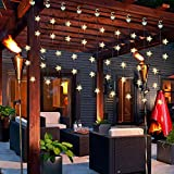 Christmas Decoration Star String Light Curtain, Jue Rui Window Decorative Lights 8 Flashing Modes LED Decoration Lamp for Bedroom Stairs Gazebo Patio Party (Warm White)