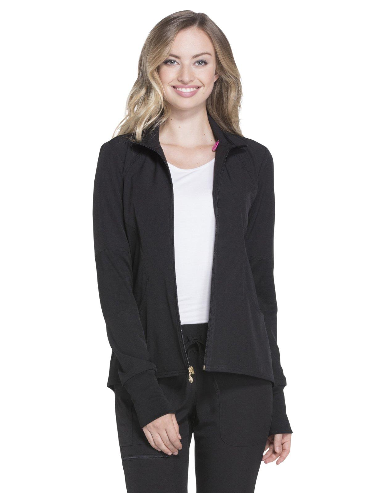 HeartSoul Break On Through Women's Zip Front Warm-Up Solid Scrub Jacket XXX-Large Black