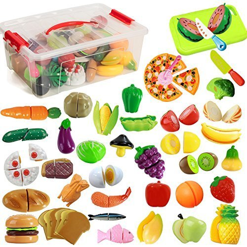 IQ Toys 40 Piece Complete Pretend Cutting Food Playset For Kids Variety of 36 Food and 4 Cutting Accessories Includes A Storage Container [並行輸入品]   B07HLH6YWS