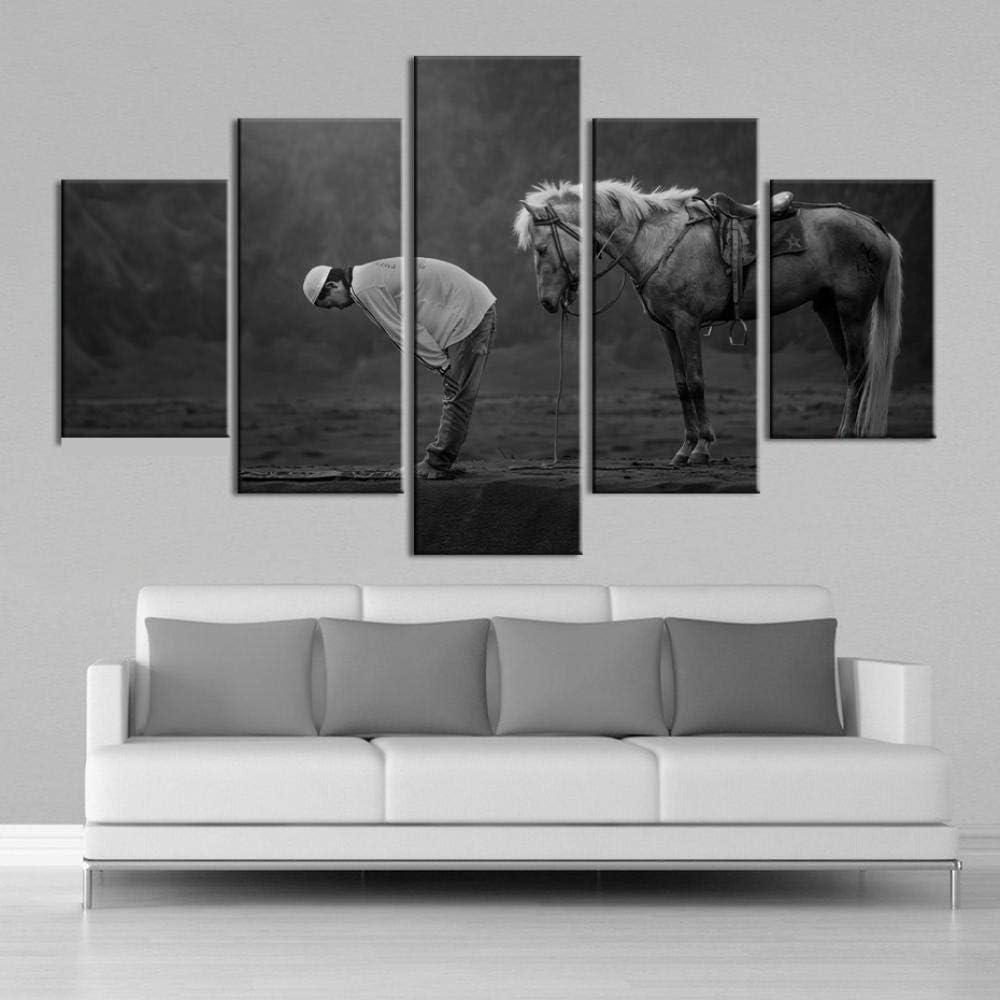 Dzrmb Arte de la Pared 5 Piezas Arte de la Lona Caballos Musulmanes Animales Cuadros de la Lona Posters Cuadros de la Pared Decoración de la Sala Marco 40x60_40x80_40x100_cm