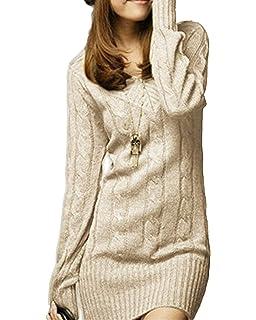 6788a6fd0c97 Vestiti in Maglia Donna Eleganti Vintage Autunno Invernali Abbigliamento  Maglioni Lunghi Manica Lunga Tempo Libero Slim