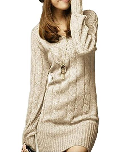 wähle das Neueste sale Outlet-Boutique Strickkleid Damen Elegante Vintage Herbst Winter ...