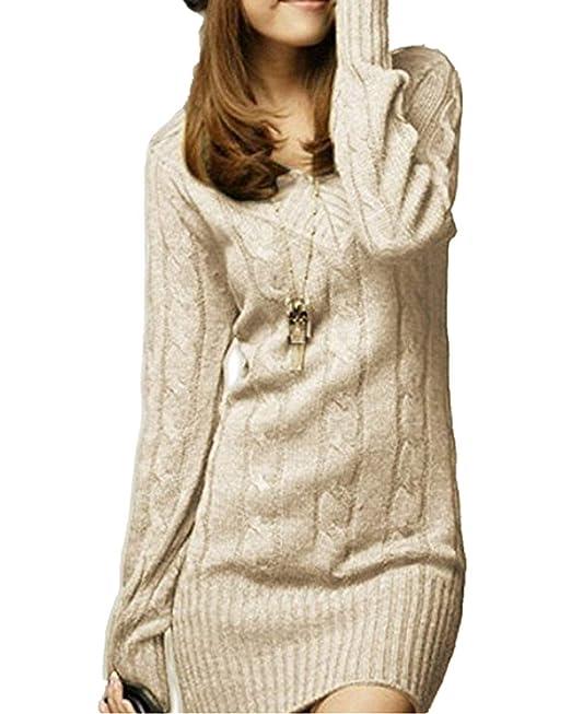 5ae5d35704 Vestiti in Maglia Donna Eleganti Vintage Autunno Invernali Abbigliamento  Maglioni Lunghi Manica Lunga Tempo Libero Slim Fit V Neck Imbottita Hot ...