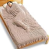 通販生活のヒートコットンケット●通販生活仕様は「横に伸びる」から、身体にぴったり寄り添って、体温を逃さず冷気を遮断します。わずか700gの発熱コットン肌掛けでひと晩中ポカポカ。もう重い毛布は必要ありません。 暖かい/軽量/発熱/保温 使用後返品OK/日本製/カタログハウス