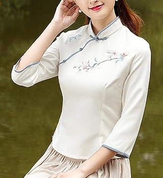 ShuangRun - Blusa de Manga Larga de Seda sintética Estilo Chino para Mujer Creamy-White US L: Amazon.es: Ropa y accesorios