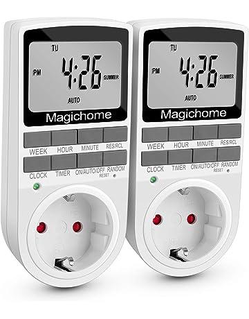Magichome Temporizador Digital Programable, Enchufe Programador con Pantalla LCD 12/24 Horas, Diario