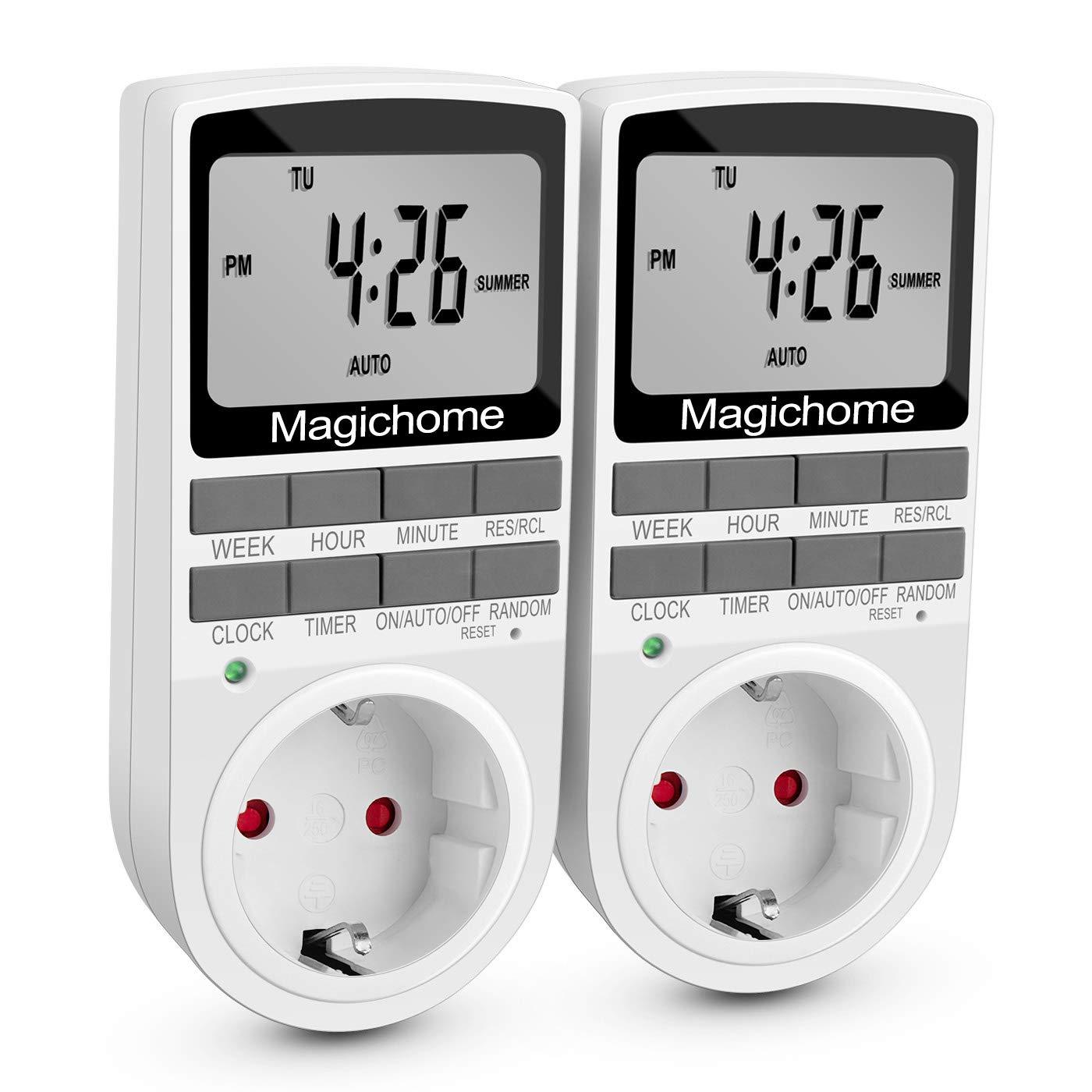 Magichome Temporizador Digital Programable, Enchufe Programador con Pantalla LCD 12/24 Horas, Diario/Semanal, Temporizador Enchufe con Horario Aleatorio y ...