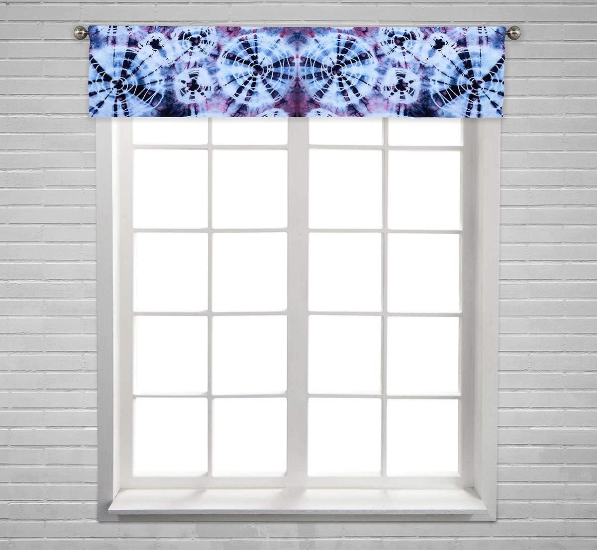 PKQWTM Tie Dye Pattern Window Curtain Valance Rod Pocket 54×12 inch
