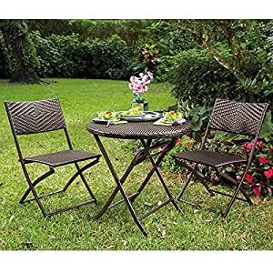 bali folding bistro table and chairs set home kitchen. Black Bedroom Furniture Sets. Home Design Ideas
