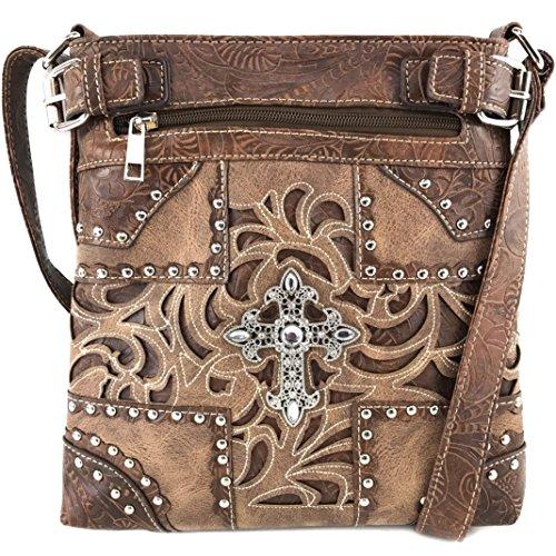 Justin West Western Laser Cut Rhinestone Silver Cross Messenger Handbag with CrossBody Strap (Brown Beige)