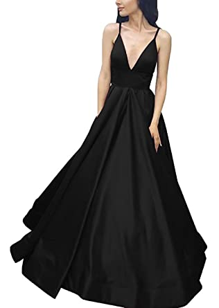 Prom Dress Long Satin A-Line Spaghetti Straps Deep V-neck Prom Dress with