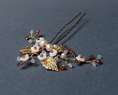 Delicate bridal hair pins with freshwater pearls, white glass flowers, crystals, golden leaves and seed beads.