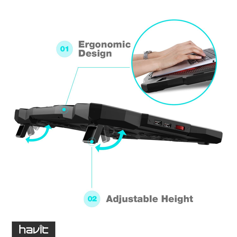 HAVIT 5 Fans Laptop Cooling Pad for 14-17 Inch Laptop, Cooler Pad with LED Light, Dual USB 2.0 Ports, Adjustable Mount Stand (Black) by Havit (Image #3)