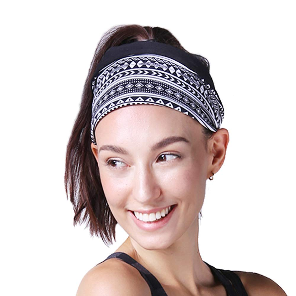 Headband for Workout Yoga and Fitness, Non Slip and Multi Style Design, Sweat Wicking, Stretchy and Secure, Happy Head Guarantee. (Black&Check)