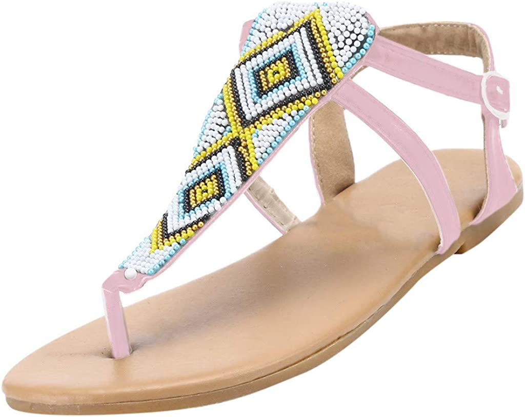 Vovotrade Womens Bohemia Flip Flops Summer Beach T-Strap Flat Sandals Comfort Walking Shoe